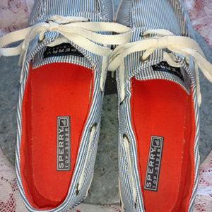 Sperry Shoes - Sperry TopSider Pinstripped Canvas Boat Shoes 8
